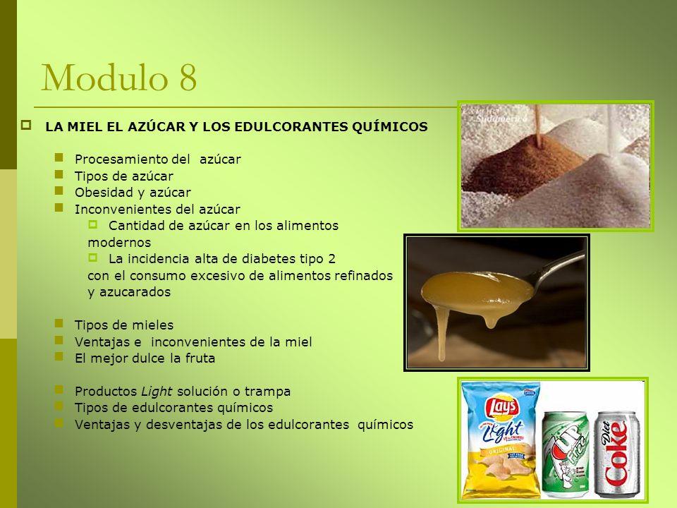 Modulo 8 LA MIEL EL AZÚCAR Y LOS EDULCORANTES QUÍMICOS Procesamiento del azúcar Tipos de azúcar Obesidad y azúcar Inconvenientes del azúcar Cantidad d