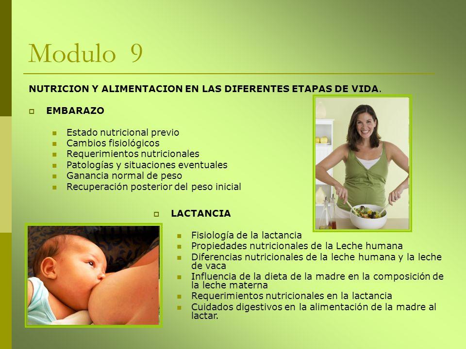 Modulo 9 NUTRICION Y ALIMENTACION EN LAS DIFERENTES ETAPAS DE VIDA. EMBARAZO Estado nutricional previo Cambios fisiológicos Requerimientos nutricional
