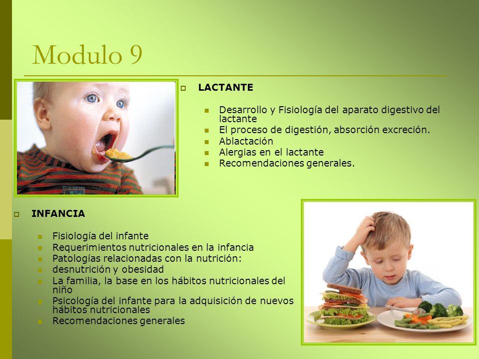 Modulo 9 INFANCIA Fisiología del infante Requerimientos nutricionales en la infancia Patologías relacionadas con la nutrición: desnutrición y obesidad