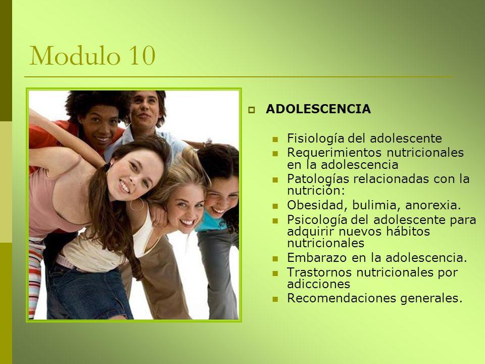 Modulo 10 ADOLESCENCIA Fisiología del adolescente Requerimientos nutricionales en la adolescencia Patologías relacionadas con la nutrición: Obesidad,