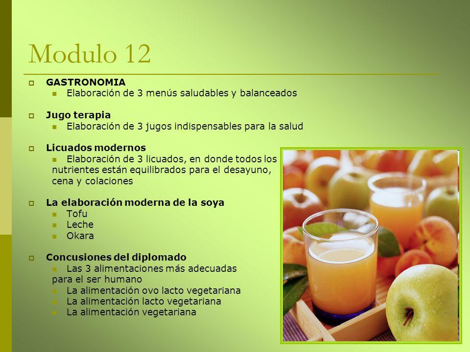 Modulo 12 GASTRONOMIA Elaboración de 3 menús saludables y balanceados Jugo terapia Elaboración de 3 jugos indispensables para la salud Licuados modern