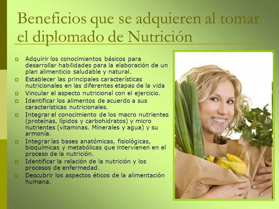 Adquirir los conocimientos básicos para desarrollar habilidades para la elaboración de un plan alimenticio saludable y natural. Establecer las princip