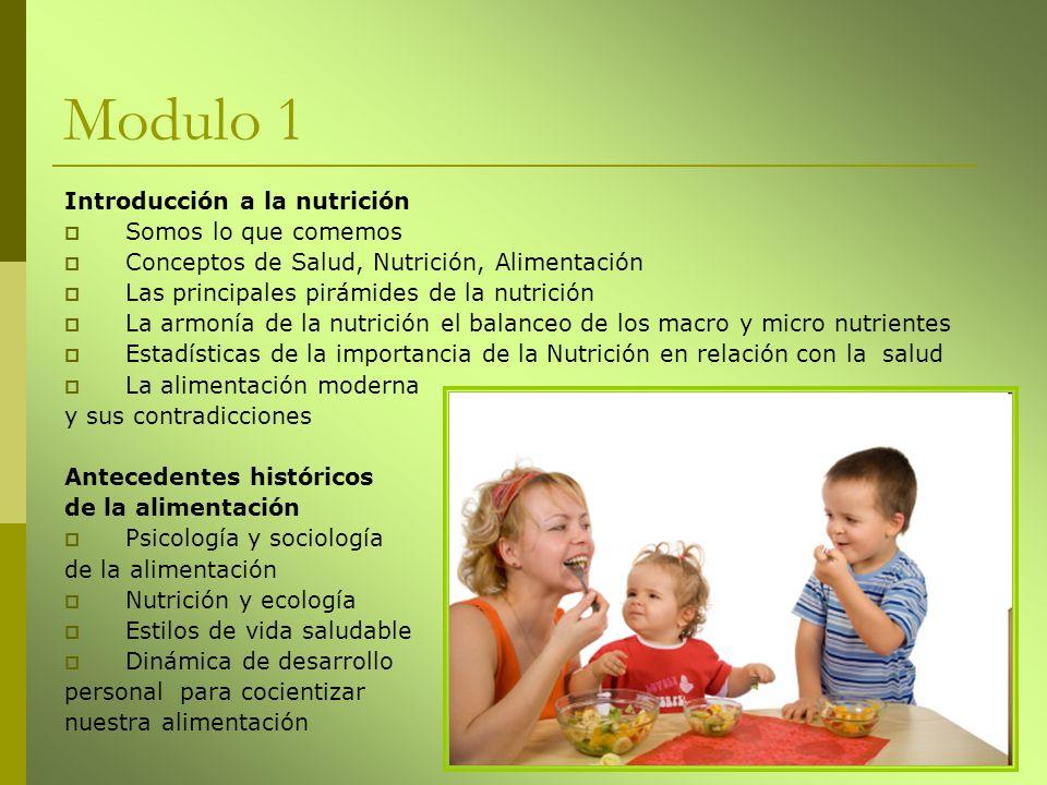 Modulo 1 Introducción a la nutrición Somos lo que comemos Conceptos de Salud, Nutrición, Alimentación Las principales pirámides de la nutrición La arm