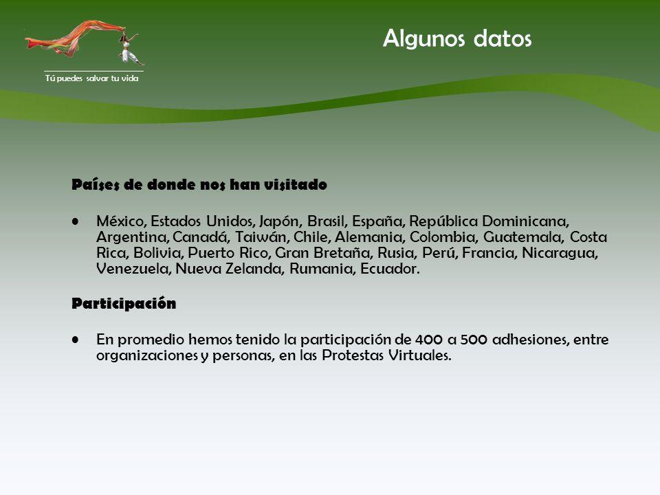 Tú puedes salvar tu vida Algunos datos Países de donde nos han visitado México, Estados Unidos, Japón, Brasil, España, República Dominicana, Argentina