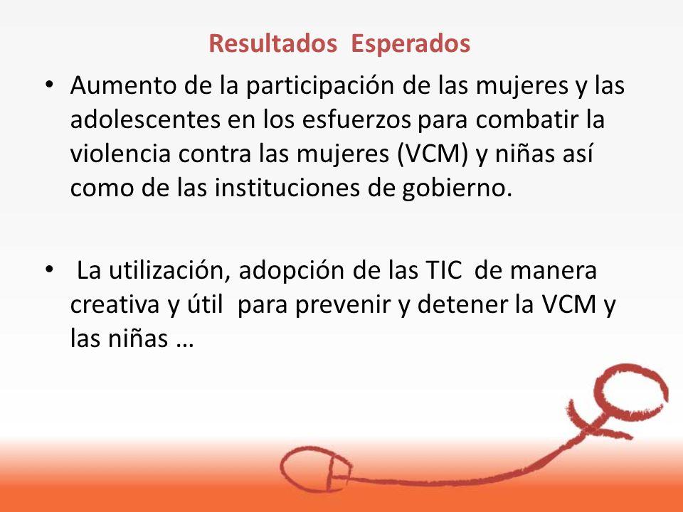 Aumento de la participación de las mujeres y las adolescentes en los esfuerzos para combatir la violencia contra las mujeres (VCM) y niñas así como de las instituciones de gobierno.