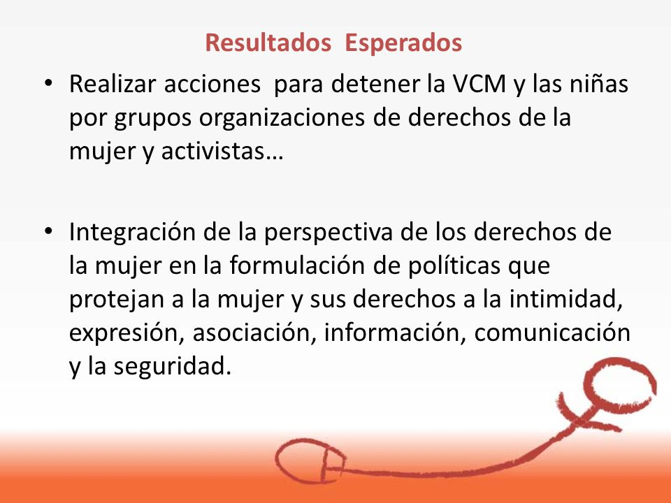 Realizar acciones para detener la VCM y las niñas por grupos organizaciones de derechos de la mujer y activistas… Integración de la perspectiva de los derechos de la mujer en la formulación de políticas que protejan a la mujer y sus derechos a la intimidad, expresión, asociación, información, comunicación y la seguridad.