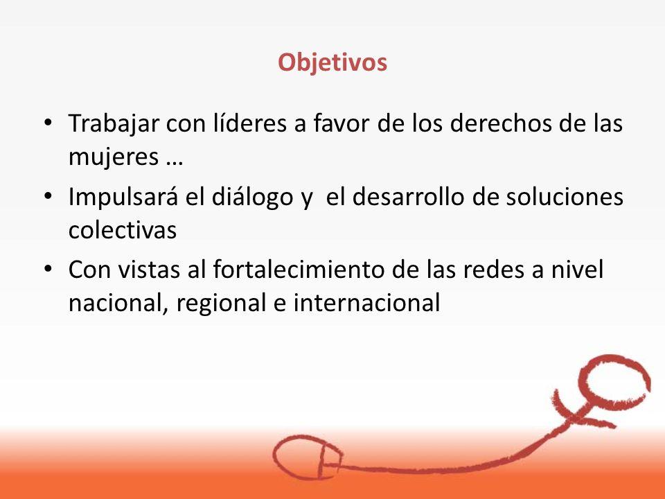 Trabajar con líderes a favor de los derechos de las mujeres … Impulsará el diálogo y el desarrollo de soluciones colectivas Con vistas al fortalecimiento de las redes a nivel nacional, regional e internacional Objetivos