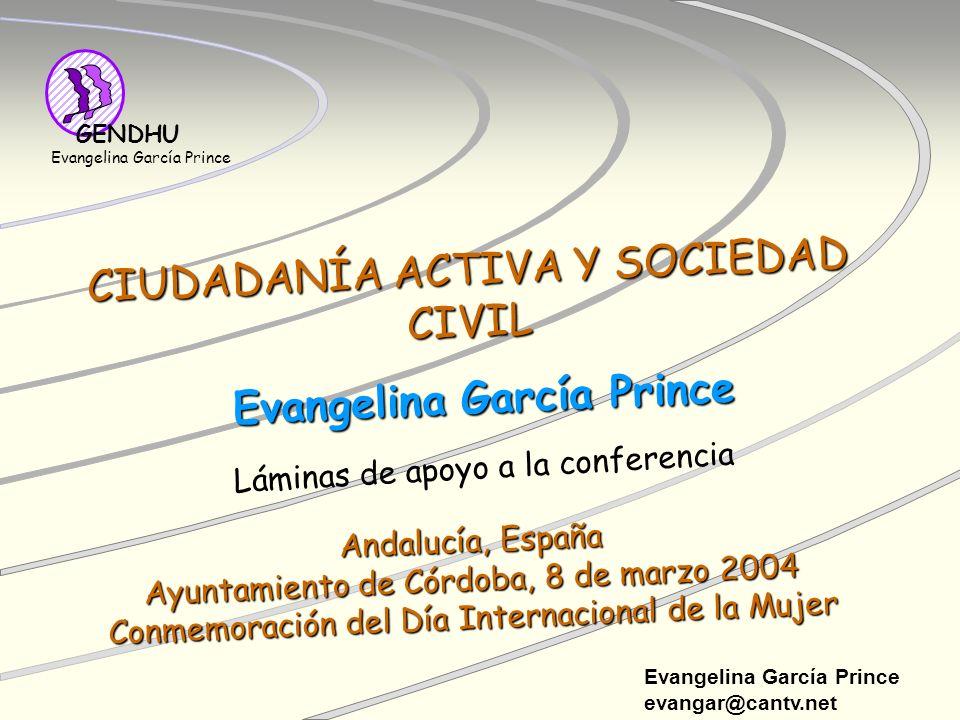 Evangelina García Prince evangar@cantv.net GENDHU Evangelina García Prince CIUDADANÍA ACTIVA Y SOCIEDAD CIVIL Láminas de apoyo a la conferencia Andalu