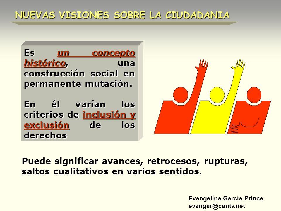 Evangelina García Prince evangar@cantv.net NUEVAS VISIONES SOBRE LA CIUDADANIA Es un concepto histórico, una construcción social en permanente mutació