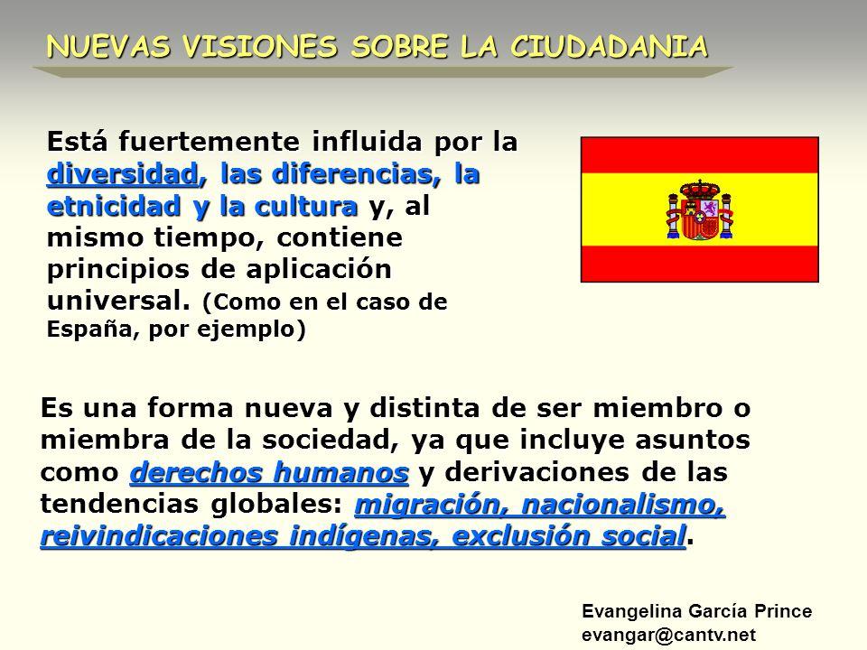 Evangelina García Prince evangar@cantv.net NUEVAS VISIONES SOBRE LA CIUDADANIA Es una forma nueva y distinta de ser miembro o miembra de la sociedad,
