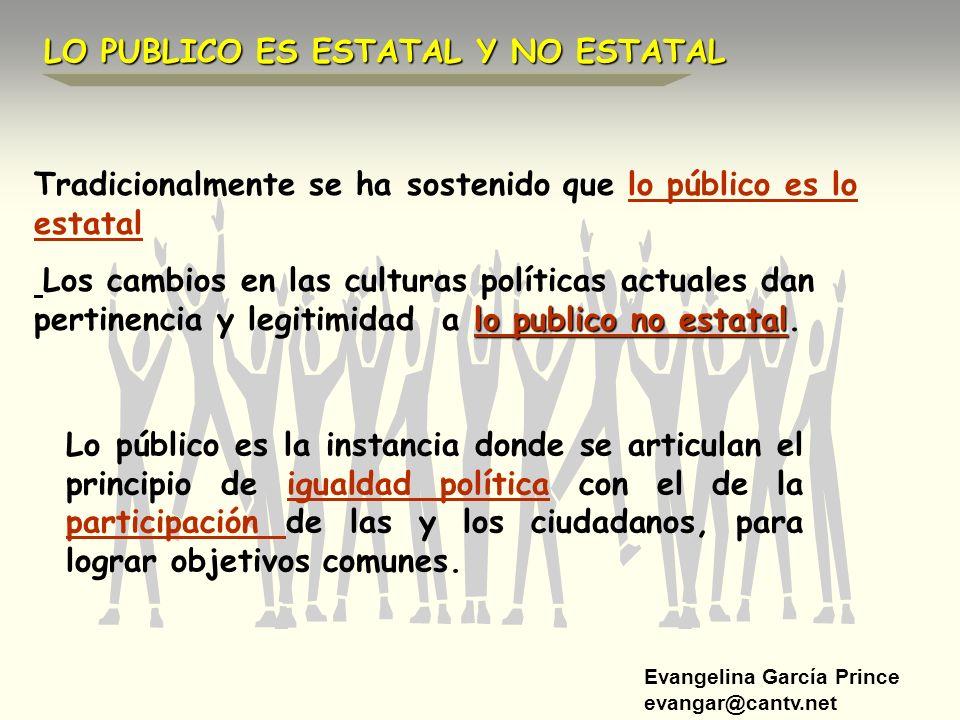 Evangelina García Prince evangar@cantv.net Tradicionalmente se ha sostenido que lo público es lo estatal lo publico no estatal Los cambios en las cult