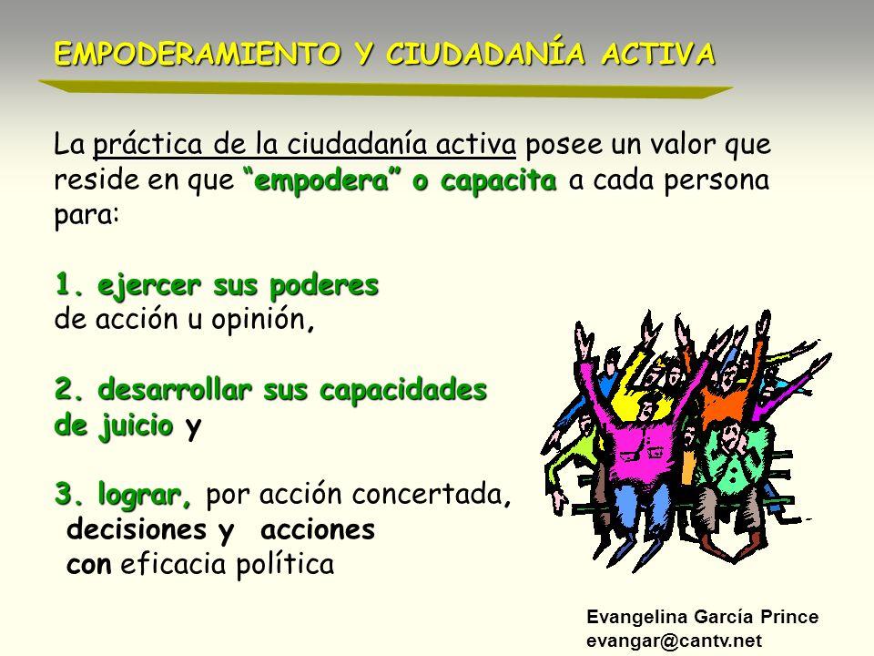 Evangelina García Prince evangar@cantv.net práctica de la ciudadanía activa La práctica de la ciudadanía activa posee un valor que empodera o capacita