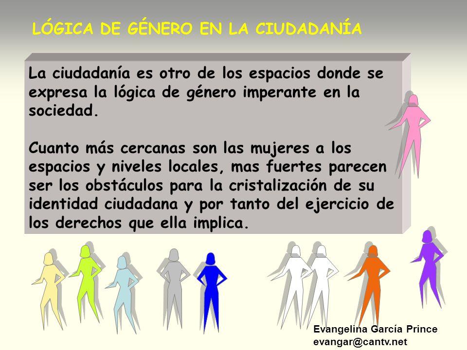 Evangelina García Prince evangar@cantv.net LÓGICA DE GÉNERO EN LA CIUDADANÍA La ciudadanía es otro de los espacios donde se expresa la lógica de géner
