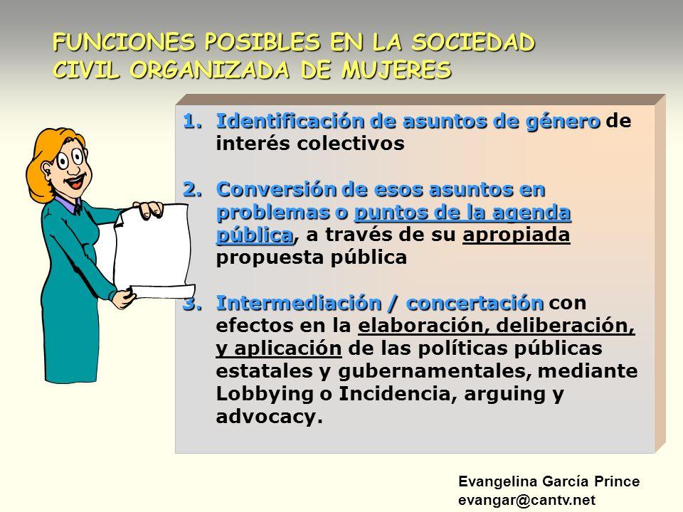 Evangelina García Prince evangar@cantv.net FUNCIONES POSIBLES EN LA SOCIEDAD CIVIL ORGANIZADA DE MUJERES 1.Identificación de asuntos de género 1.Ident