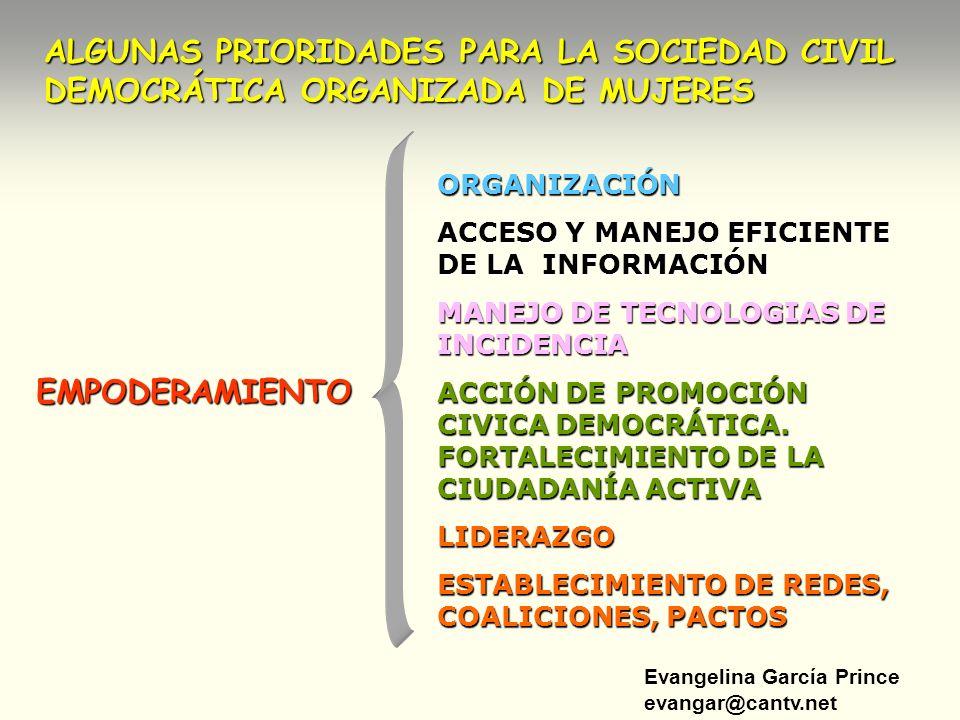 Evangelina García Prince evangar@cantv.net ALGUNAS PRIORIDADES PARA LA SOCIEDAD CIVIL DEMOCRÁTICA ORGANIZADA DE MUJERES EMPODERAMIENTO ORGANIZACIÓN AC