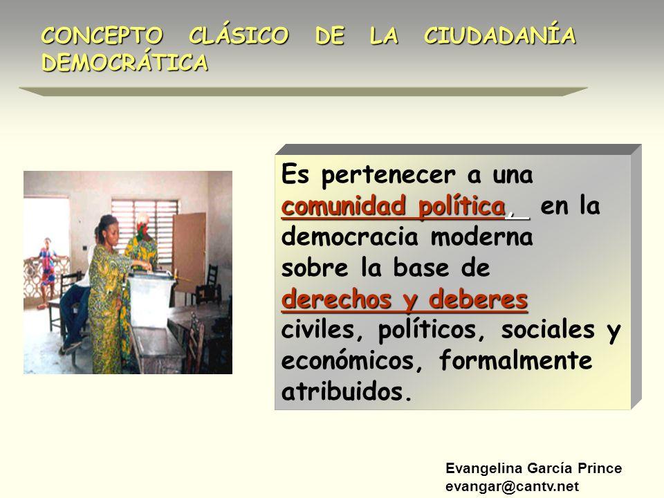 Evangelina García Prince evangar@cantv.net CONCEPTO CLÁSICO DE LA CIUDADANÍA DEMOCRÁTICA comunidad política, Es pertenecer a una comunidad política, e