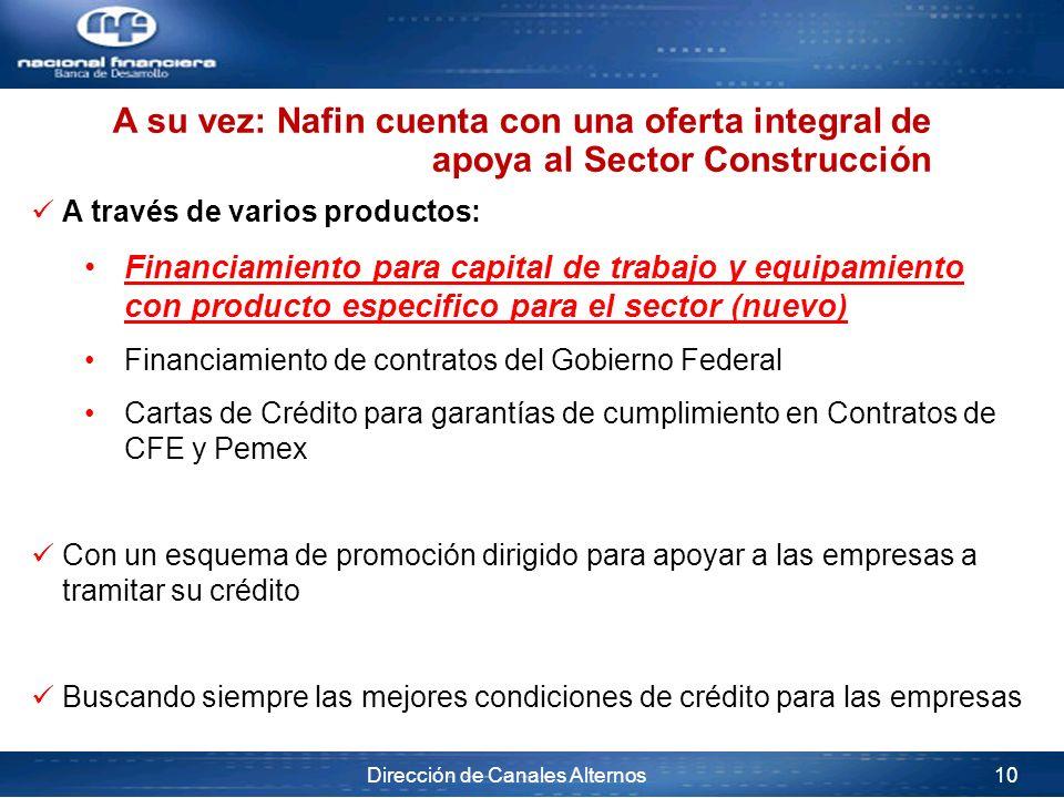 Dirección de Canales Alternos 10 A su vez: Nafin cuenta con una oferta integral de apoya al Sector Construcción A través de varios productos: Financia