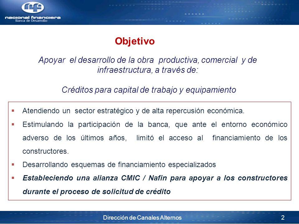 Dirección de Canales Alternos 2 Atendiendo un sector estratégico y de alta repercusión económica. Estimulando la participación de la banca, que ante e