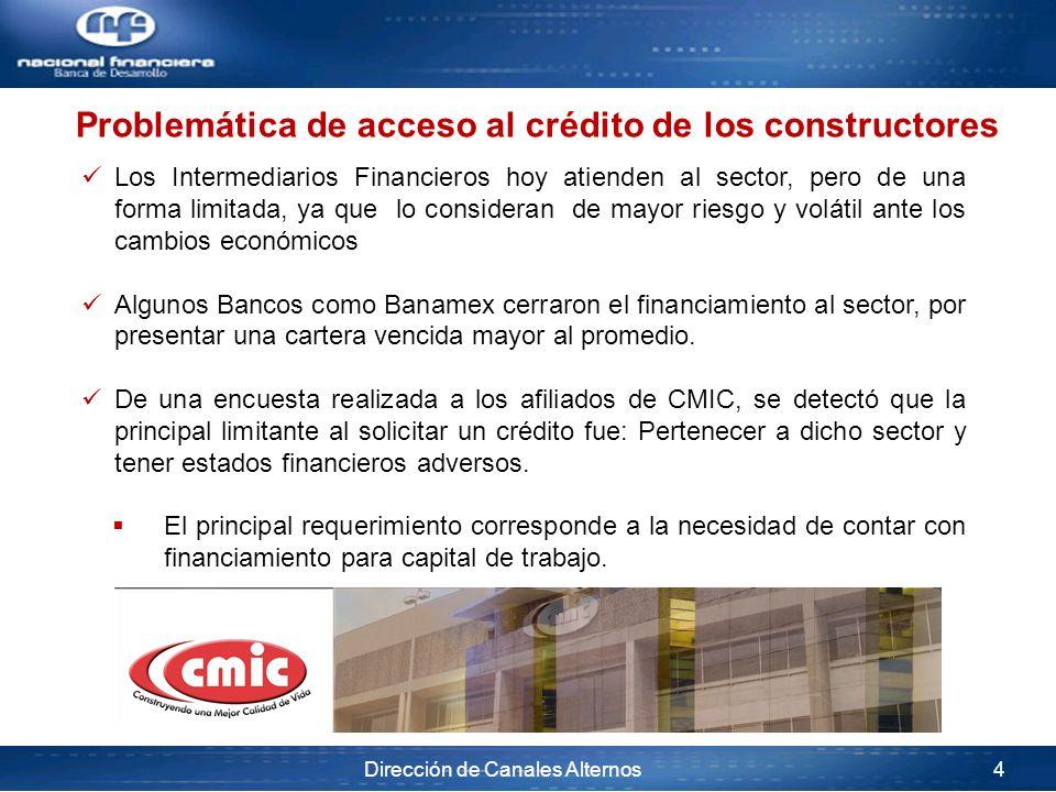 Dirección de Canales Alternos 4 Los Intermediarios Financieros hoy atienden al sector, pero de una forma limitada, ya que lo consideran de mayor riesg