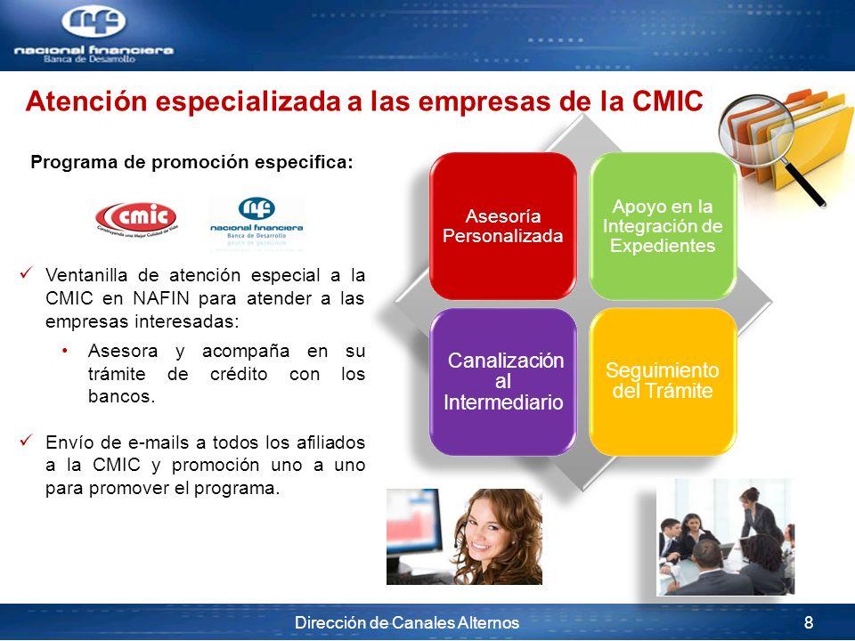 Dirección de Canales Alternos 8 Programa de promoción especifica: Ventanilla de atención especial a la CMIC en NAFIN para atender a las empresas inter