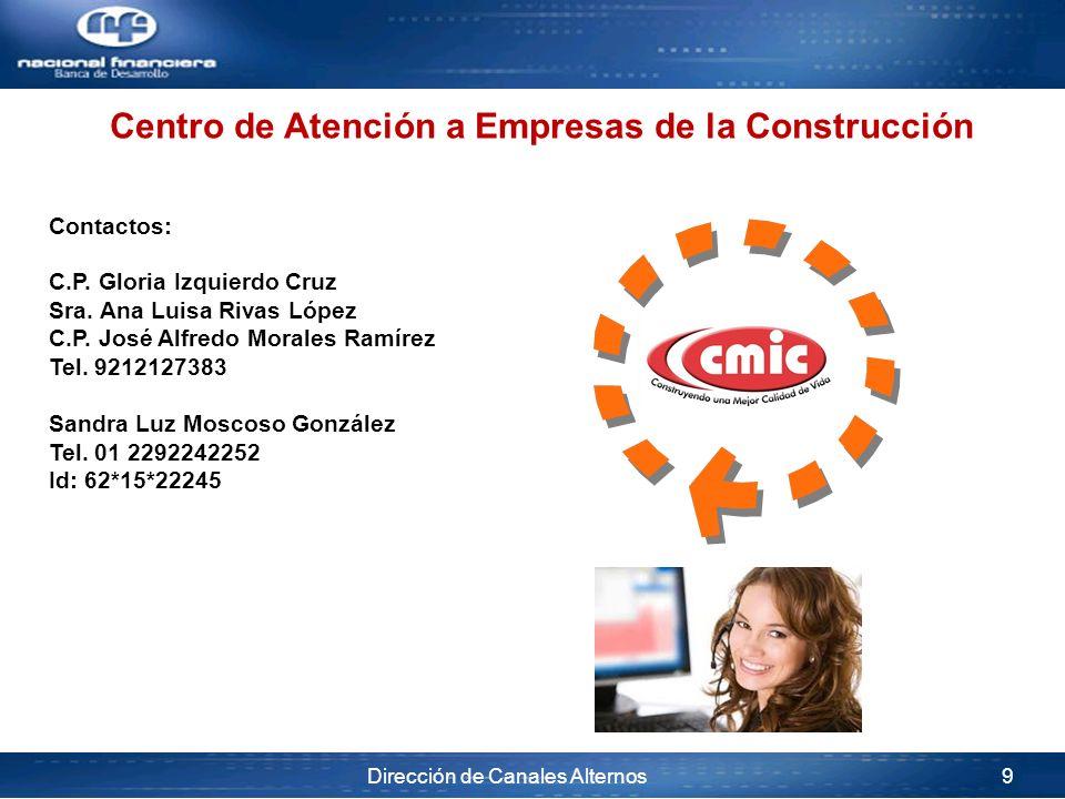 Dirección de Canales Alternos 9 Contactos: C.P. Gloria Izquierdo Cruz Sra. Ana Luisa Rivas López C.P. José Alfredo Morales Ramírez Tel. 9212127383 San