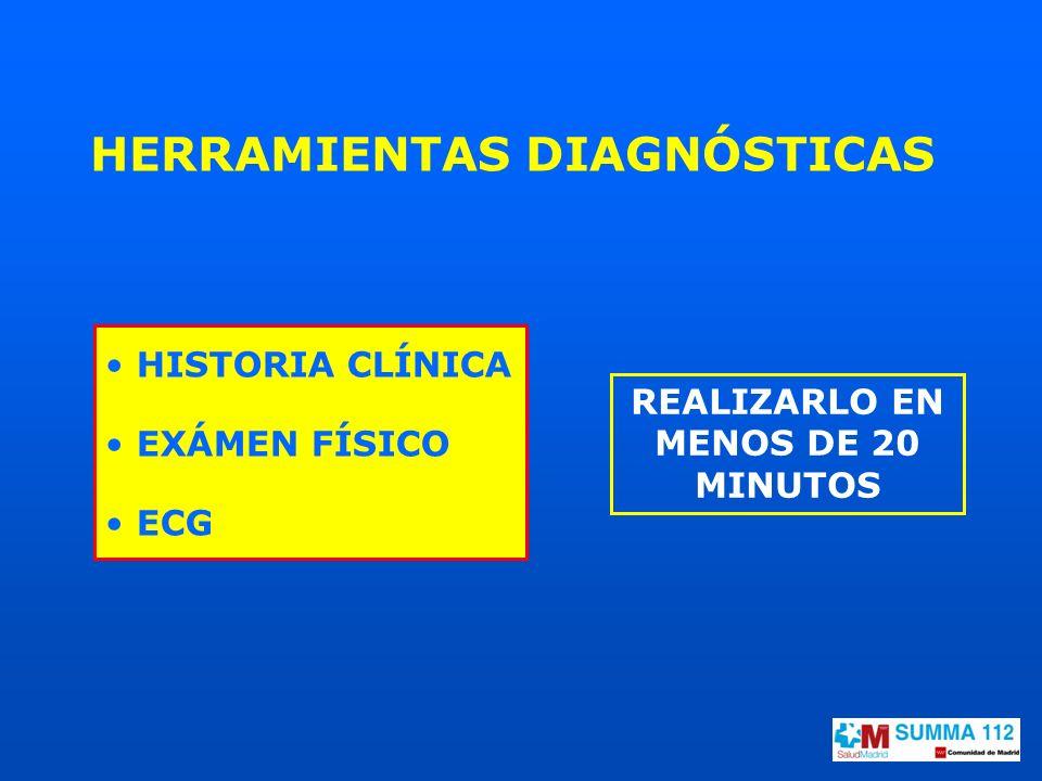 HERRAMIENTAS DIAGNÓSTICAS HISTORIA CLÍNICA EXÁMEN FÍSICO ECG REALIZARLO EN MENOS DE 20 MINUTOS