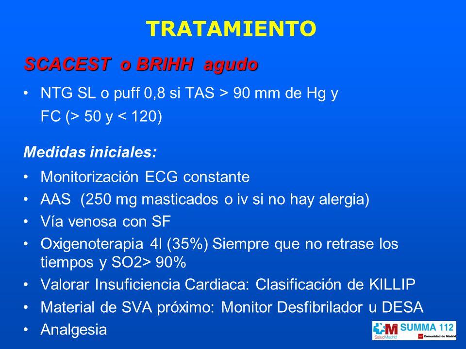 SCACEST o BRIHH agudo NTG SL o puff 0,8 si TAS > 90 mm de Hg y FC (> 50 y < 120) Medidas iniciales: Monitorización ECG constante AAS (250 mg masticado