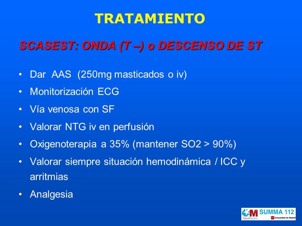 SCASEST: ONDA (T –) o DESCENSO DE ST Dar AAS (250mg masticados o iv) Monitorización ECG Vía venosa con SF Valorar NTG iv en perfusión Oxigenoterapia a