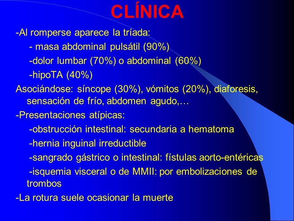 CLÍNICA -Al romperse aparece la tríada: - masa abdominal pulsátil (90%) -dolor lumbar (70%) o abdominal (60%) -hipoTA (40%) Asociándose: síncope (30%)