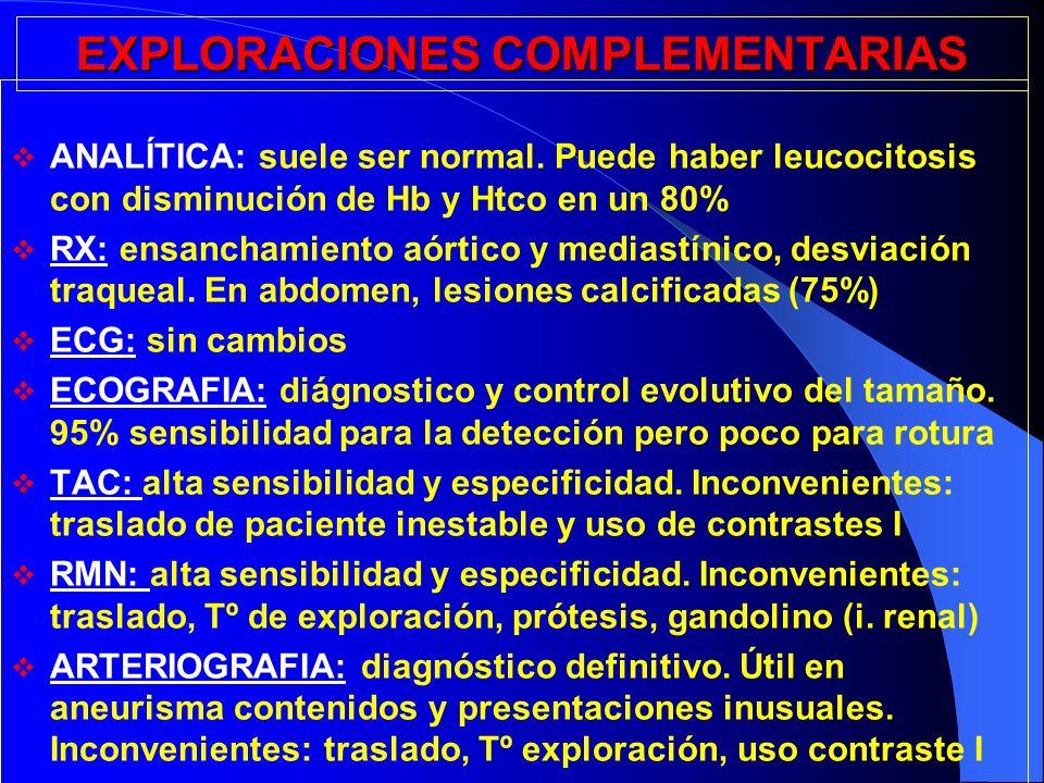 EXPLORACIONES COMPLEMENTARIAS ANALÍTICA: suele ser normal. Puede haber leucocitosis con disminución de Hb y Htco en un 80% RX: ensanchamiento aórtico