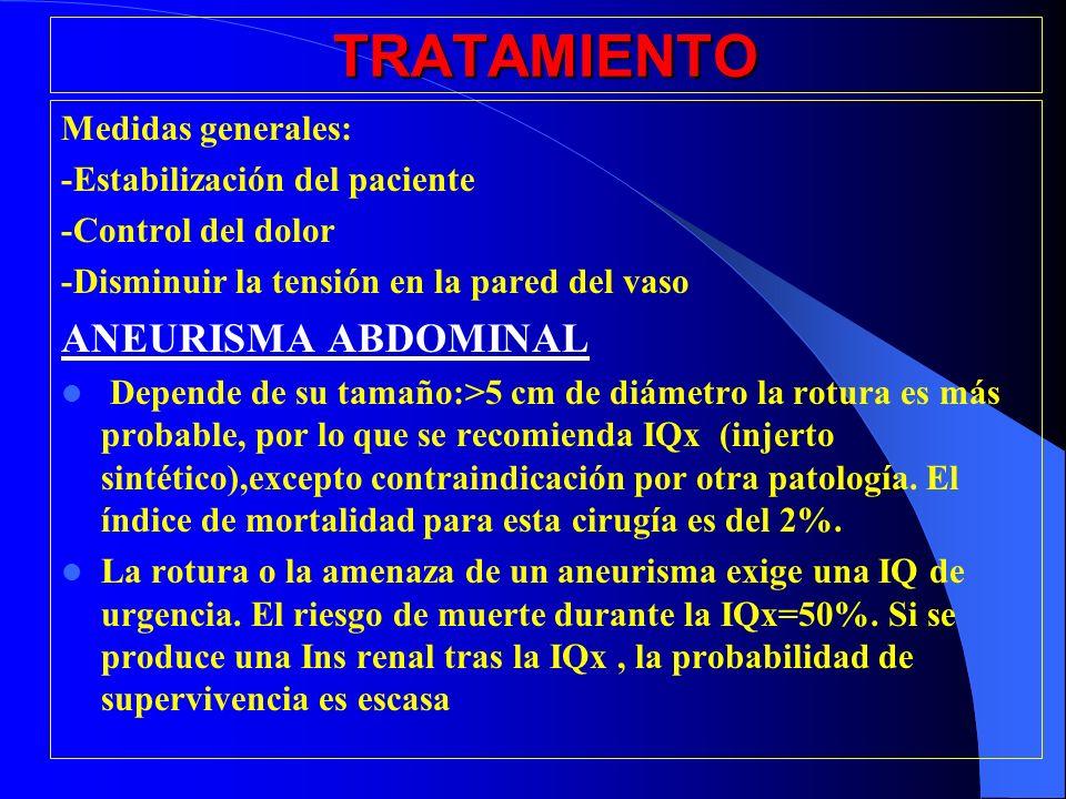 TRATAMIENTO Medidas generales: -Estabilización del paciente -Control del dolor -Disminuir la tensión en la pared del vaso ANEURISMA ABDOMINAL Depende