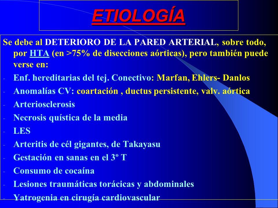 ETIOLOGÍA Se debe al DETERIORO DE LA PARED ARTERIAL, sobre todo, por HTA (en >75% de disecciones aórticas), pero también puede verse en: - Enf. heredi