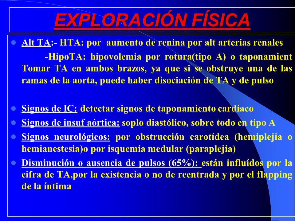 EXPLORACIÓN FÍSICA Alt TA:- HTA: por aumento de renina por alt arterias renales -HipoTA: hipovolemia por rotura(tipo A) o taponamient Tomar TA en ambo