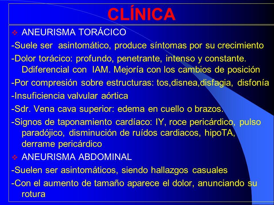 CLÍNICA ANEURISMA TORÁCICO -Suele ser asintomático, produce síntomas por su crecimiento -Dolor torácico: profundo, penetrante, intenso y constante. Dd