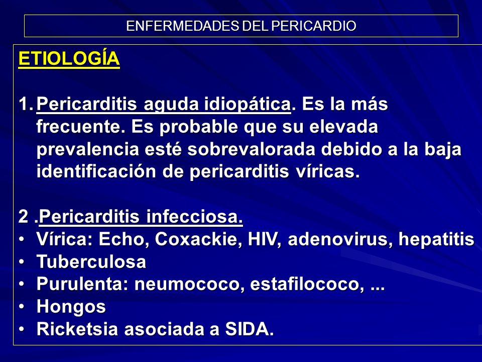 ETIOLOGÍA 1.Pericarditis aguda idiopática. Es la más frecuente. Es probable que su elevada prevalencia esté sobrevalorada debido a la baja identificac