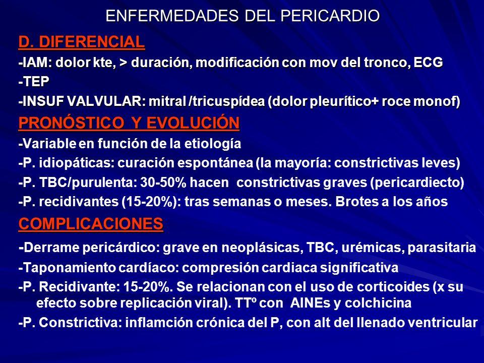 ENFERMEDADES DEL PERICARDIO D. DIFERENCIAL -IAM: dolor kte, > duración, modificación con mov del tronco, ECG -TEP -INSUF VALVULAR: mitral /tricuspídea