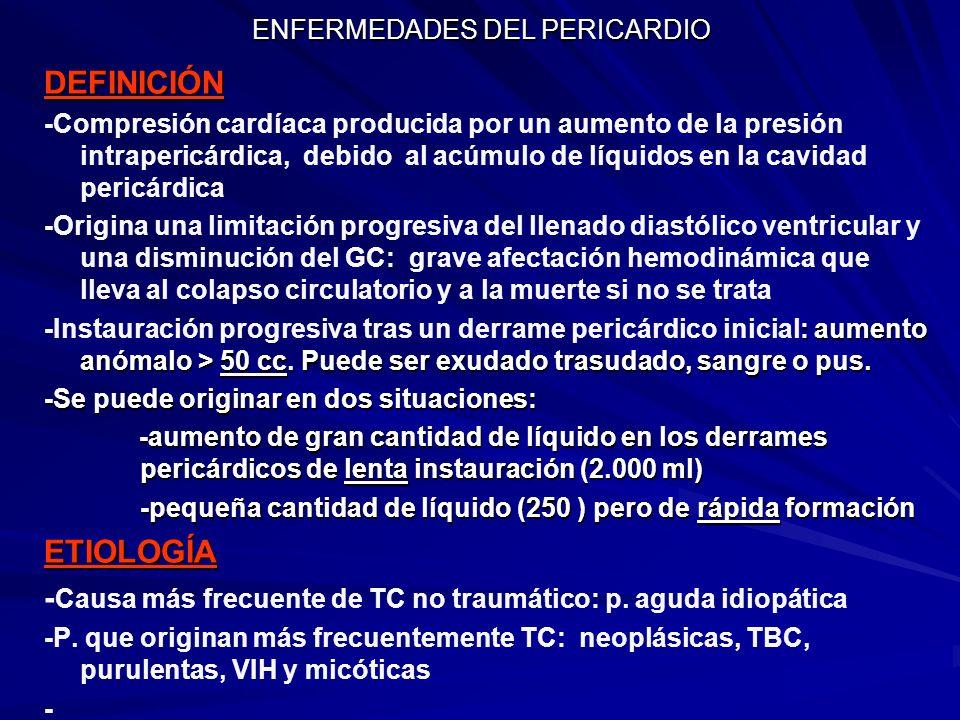 ENFERMEDADES DEL PERICARDIO DEFINICIÓN -Compresión cardíaca producida por un aumento de la presión intrapericárdica, debido al acúmulo de líquidos en
