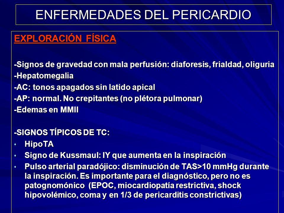 ENFERMEDADES DEL PERICARDIO EXPLORACIÓN FÍSICA -Signos de gravedad con mala perfusión: diaforesis, frialdad, oliguria -Hepatomegalia -AC: tonos apagad