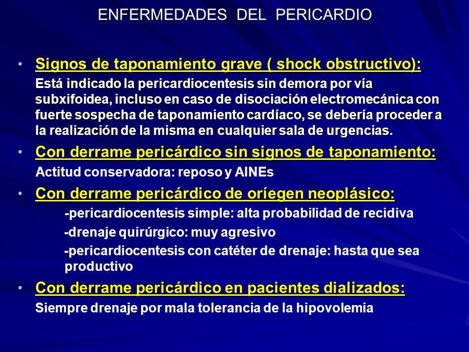 ENFERMEDADES DEL PERICARDIO Signos de taponamiento grave ( shock obstructivo): Signos de taponamiento grave ( shock obstructivo): Está indicado la per