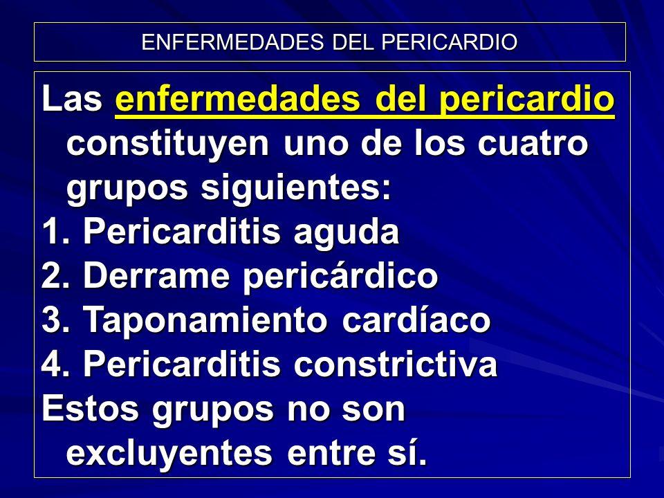 ENFERMEDADES DEL PERICARDIO Las enfermedades del pericardio constituyen uno de los cuatro grupos siguientes: 1. Pericarditis aguda 2. Derrame pericárd