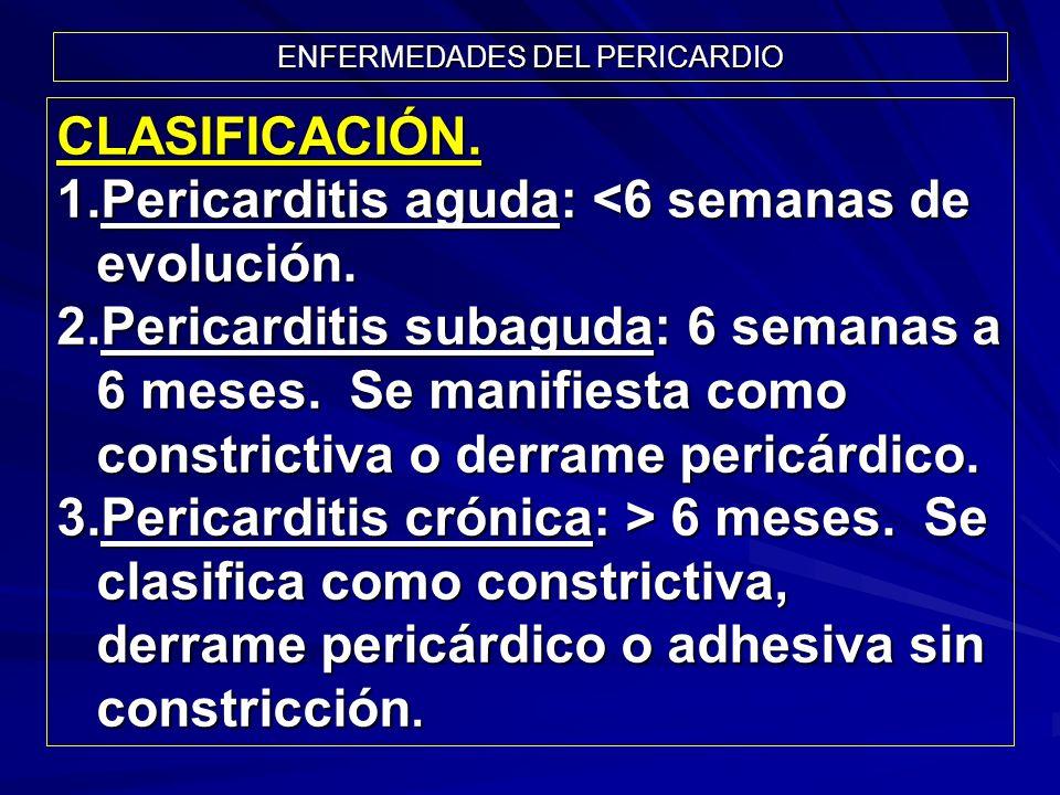 ENFERMEDADES DEL PERICARDIO CLASIFICACIÓN. 1.Pericarditis aguda: <6 semanas de evolución. 2.Pericarditis subaguda: 6 semanas a 6 meses. Se manifiesta