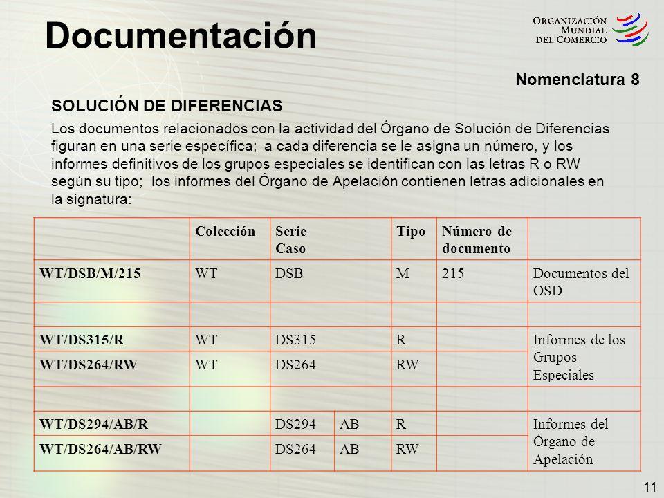 Documentación 11 Nomenclatura 8 SOLUCIÓN DE DIFERENCIAS Los documentos relacionados con la actividad del Órgano de Solución de Diferencias figuran en