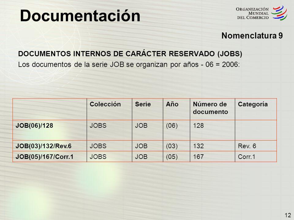 Documentación 12 DOCUMENTOS INTERNOS DE CARÁCTER RESERVADO (JOBS) Los documentos de la serie JOB se organizan por años - 06 = 2006: ColecciónSerieAñoN