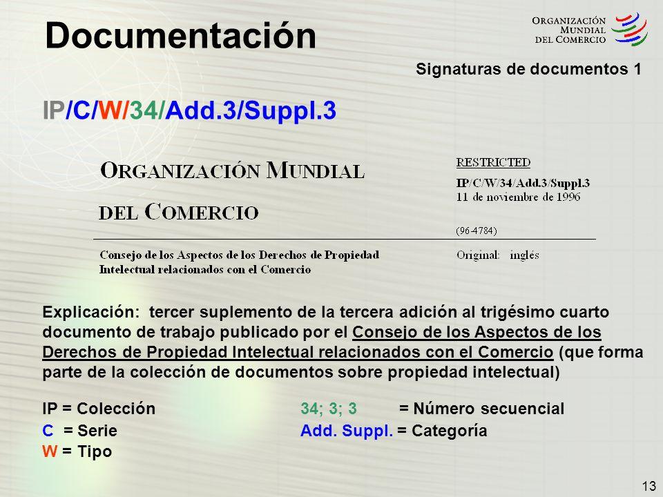 Documentación 13 IP/C/W/34/Add.3/Suppl.3 Explicación: tercer suplemento de la tercera adición al trigésimo cuarto documento de trabajo publicado por e