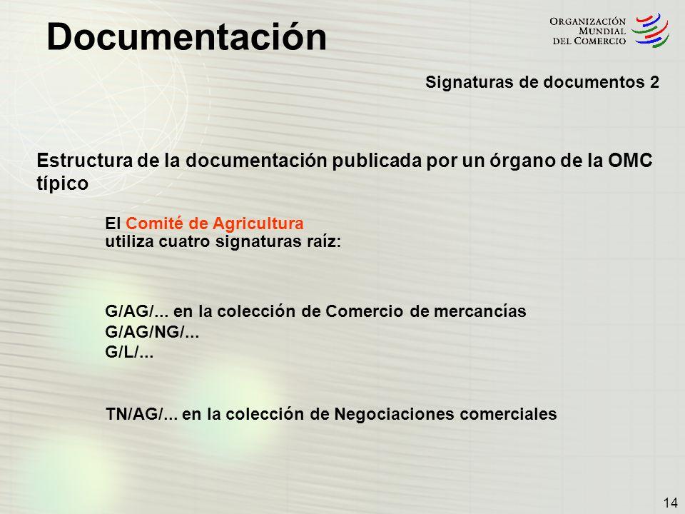 Documentación 14 Signaturas de documentos 2 Estructura de la documentación publicada por un órgano de la OMC típico El Comité de Agricultura utiliza c