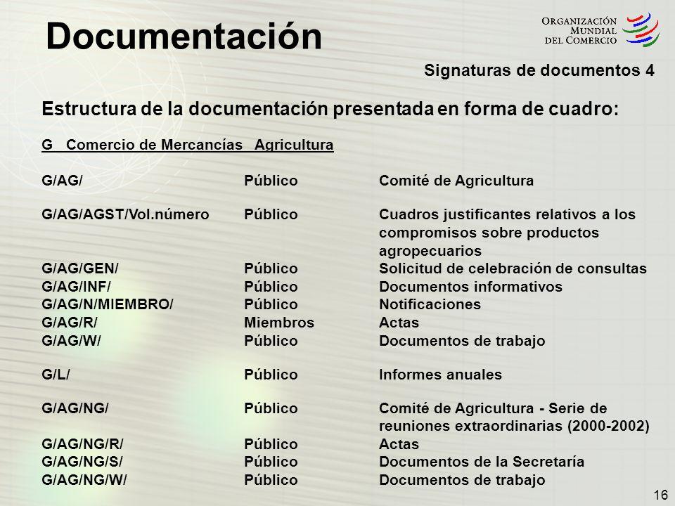 Documentación 16 Estructura de la documentación presentada en forma de cuadro: G Comercio de Mercancías Agricultura G/AG/PúblicoComité de Agricultura