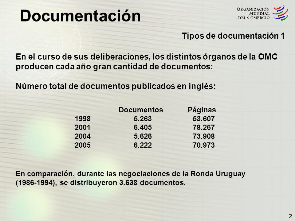 2 En el curso de sus deliberaciones, los distintos órganos de la OMC producen cada año gran cantidad de documentos: Número total de documentos publica