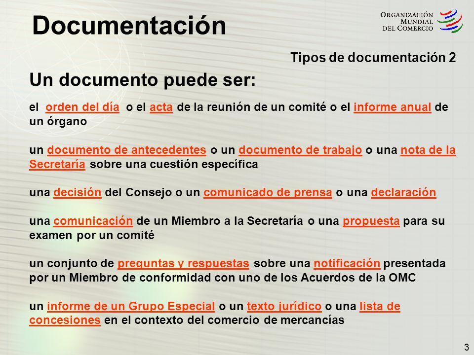 Documentación 14 Signaturas de documentos 2 Estructura de la documentación publicada por un órgano de la OMC típico El Comité de Agricultura utiliza cuatro signaturas raíz: G/AG/...en la colección de Comercio de mercancías G/AG/NG/...