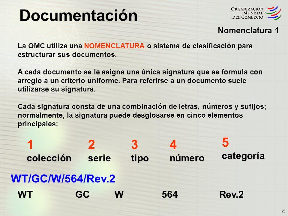 Documentación 4 Nomenclatura 1 La OMC utiliza una NOMENCLATURA o sistema de clasificación para estructurar sus documentos. A cada documento se le asig