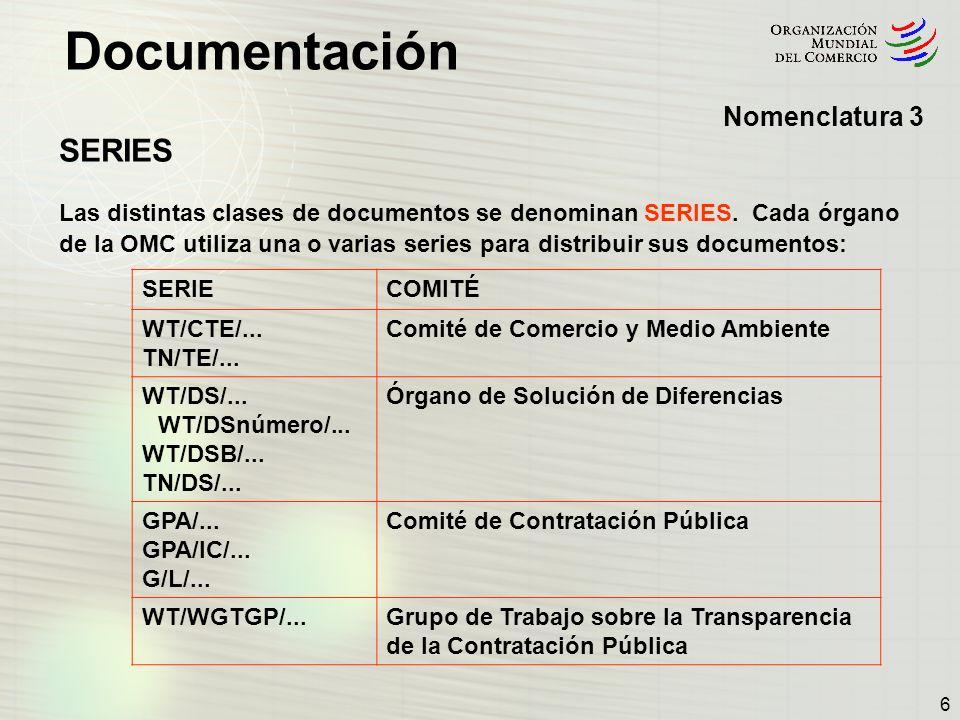 Documentación 17 Signaturas de documentos 5 Estructura de la documentación publicada por un órgano de la OMC típico presentada en forma de cuadro (Cont.): G Comercio de Mercancías Agricultura TN/AG/PúblicoComité de Agricultura en Sesión Extraordinaria (2002- ) TN/AG/GEN/Público Comunicaciones y declaraciones TN/AG/R/Miembros Actas TN/AG/S/Público Documentos de la Secretaría TN/AG/SCC/Miembros Subcomité sobre el Algodón TN/AG/SCC/GEN/Miembros Declaraciones G/AG/SCC/R/Miembros Actas TN/AG/SCC/W/Miembros Documentos de trabajo TN/AG/W/Público Documentos de trabajo Ocasionalmente, los documentos de series públicas se publican con carácter reservado, de conformidad con las disposiciones del documento WT/L/452 (16 de mayo de 2002).